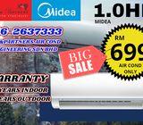Aircond Midea Brand New 1HP Aircon Baru