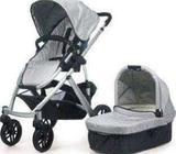Uppababy Vista Baby Pram Child Stroller w Bassinet Silver