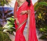 Pink Silk Saree with Beige Blouse