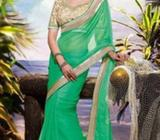 Green Chiffon Saree with Beige Blouse